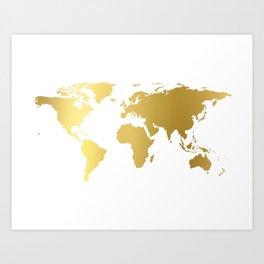 World Map Wall Art,World Map Poster,World Map Print,Gold Map,Gold Print,World Map Canvas,SCANDINAVIA Art Print