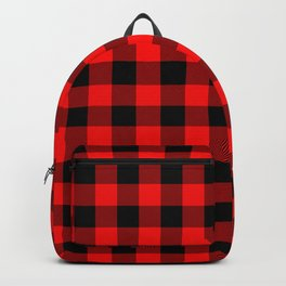 Jumbo Valentine Red Heart Rich Red and Black Buffalo Check Plaid Backpack