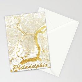 Philadelphia Map Gold Stationery Cards
