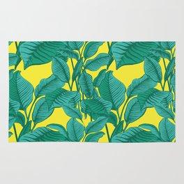 Exotic Tropical Palm Leaf Print - Lime Rug