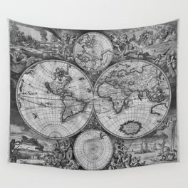 Vintage World Map print from 1689 - black and white Wall Tapestry