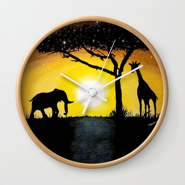 Sunset in Africa Wall Clock