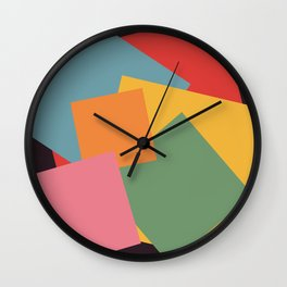 Abstract Colorful Retro Colored Geometric Squares Wall Clock
