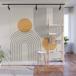 Mid Century Modern Geometric 70 (Rainbow and Sun Abstraction) Wall Mural