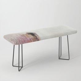 Sunrise [2]: a bright, colorful abstract piece in pink, gold, black,and white Bench