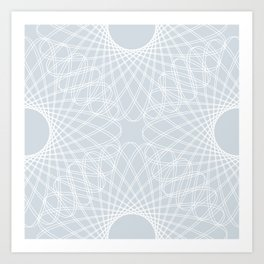 spirograph inspired pattern in white and a pale icy gray Art Print