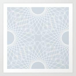 mathematical rotating roses - ice gray Art Print