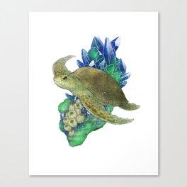 Sea Turtle and Azurite Canvas Print
