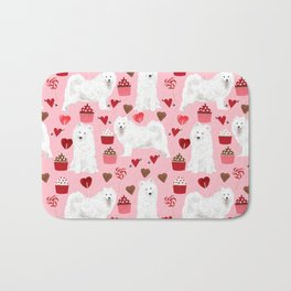 Samoyed valentines day dog portrait cute puppy dogs hearts love valentine for dog person Bath Mat