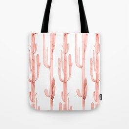 Pretty Coral Pink Cactus Pattern Tote Bag