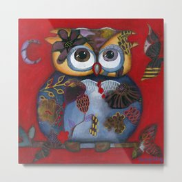 Bohemian Owl and Moon Painting by Kimberly Schulz Metal Print