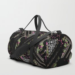Floral-geometric pattern on a black background. Duffle Bag