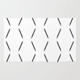 Pen pattern - black and white Rug