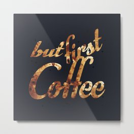 Black grey coffee stain mug wall art print Metal Print