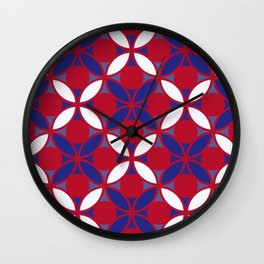 Geometric Floral Circles In Bold Red White & Blue Wall Clock