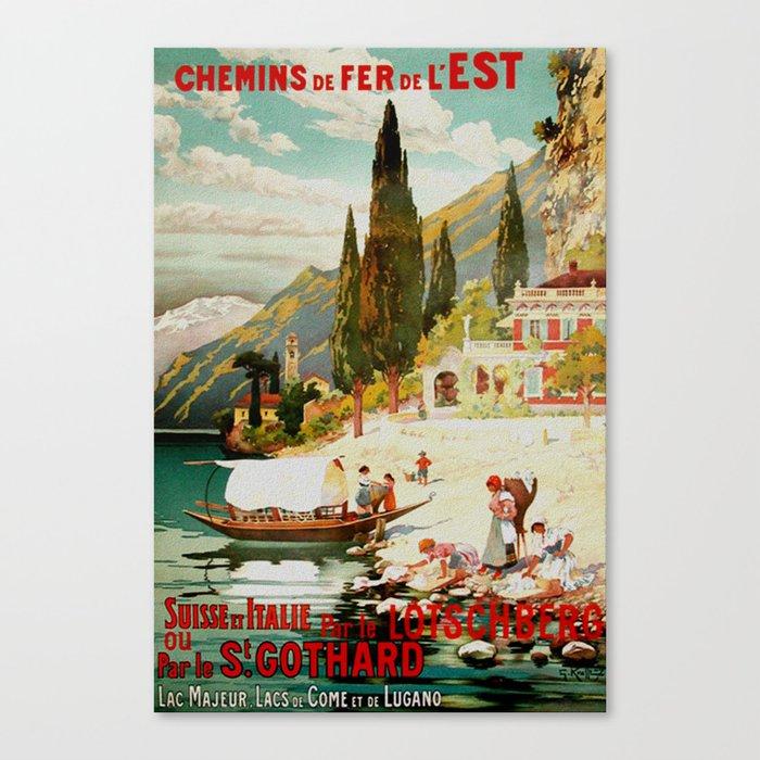 Switzerland and Italy Via St. Gotthard Travel Poster Canvas Print