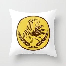 Demeter Harvest Wheat Grain Oval Retro Throw Pillow