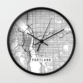 Portland Map, USA - Black and White Wall Clock