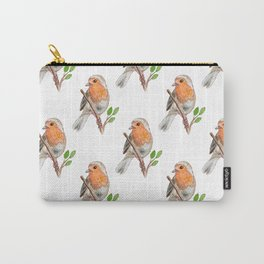 Robin Bird Watercolor Carry-All Pouch
