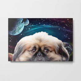 Space Planets and Pekingese Dog Metal Print
