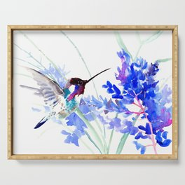 Flying Hummingbird and Blue Flowers Serving Tray