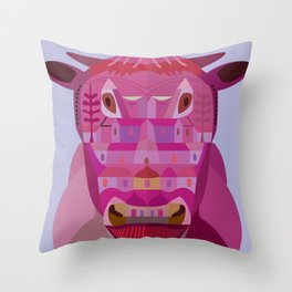 A Cow in Los Angeles Throw Pillow