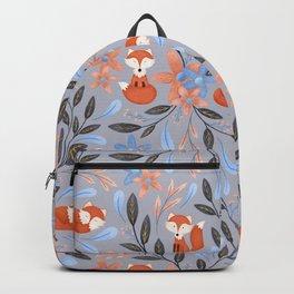 Folk Art Foxes | Grey Backpack