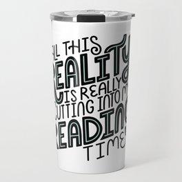 Reality Vs. Reading Time - Black Mint Travel Mug