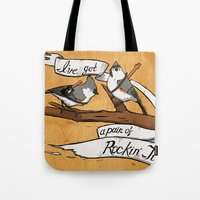 tits Tote Bags featuring Rockin' Tits by Alex Groh