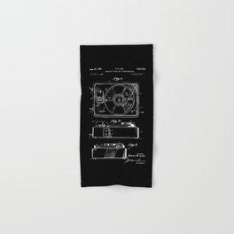 Turntable Patent - White on Black Hand & Bath Towel