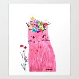 Cat in floral hat Art Print