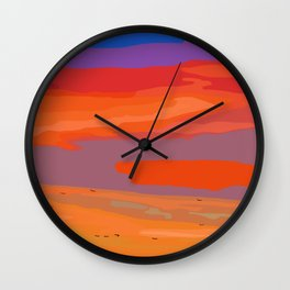 Abstract Coastal Sunset Wall Clock
