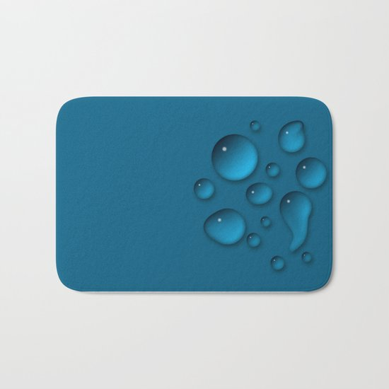 Water drops on a blue background Bath Mat