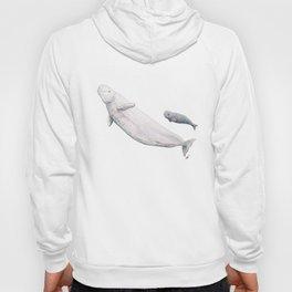Beluga and baby beluga whale Hoody
