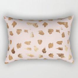 Elegant blush pink gold abstract brushstrokes polka dots Rectangular Pillow