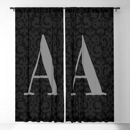 Modern Black Grey Damask Letter A Monogram Blackout Curtain