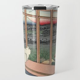Utagawa Hiroshige Japanese Woodblock Cat Print Travel Mug