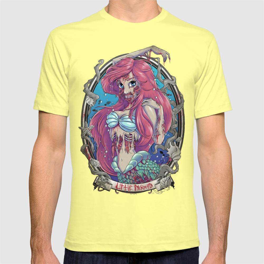 Graphic Cotton T Shirt Short /& Long Sleeve Little Mermaid Zombie