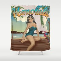 travel poster Shower Curtains featuring Honolulu Hawaii vintage travel poster by Nick's Emporium Gallery