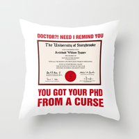 regina mills Throw Pillows featuring Regina Sassy Mills | You got your PhD from a curse by CLM Design