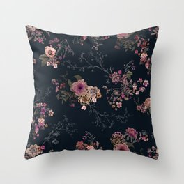 Japanese Boho Floral Throw Pillow