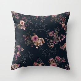 Japanese Boho Floral Throw Pillow