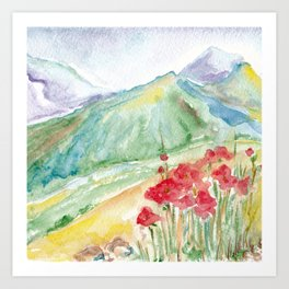Mountain flowers. Abstract watercolor landscape Art Print