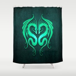 Teal Blue Twin Tribal Dragons Shower Curtain