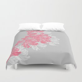 Cherry Blossom Grey Block Print Duvet Cover