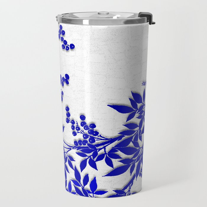 BLUE AND WHITE  TOILE LEAF Travel Mug