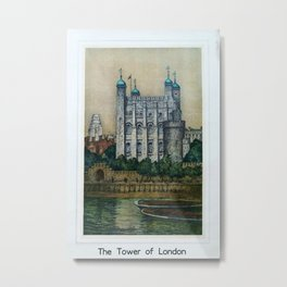 The Tower of London Vintage Travel Poster Metal Print