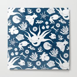Cephalopods: Background Blue Metal Print