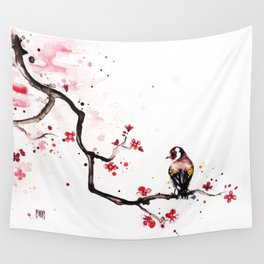 "The tiny wings ""The goldfinch"" Wall Tapestry"