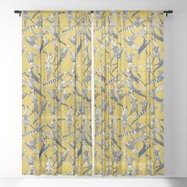 dog party indigo yellow Sheer Curtain